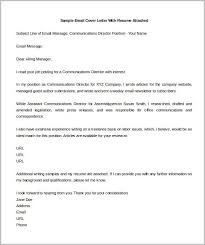 Email Cover Letter For Job Example Cover Letter Resume Examples