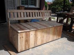 wood bench with storage pallet