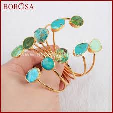 Copper <b>BOROSA 5PCS Gold</b> Color Natural Blue Stone Druzy ...