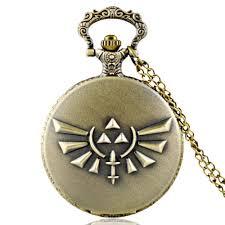 details about antique legend of zelda quartz vintage pocket watch chain necklace pendant gift