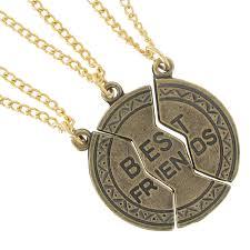 3 part f best friends pendant necklace set gold tone thumbnail 2