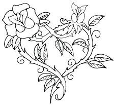 Coloring Pages Of Hearts With Roses Heart And Rose Wings Color Page