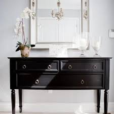 Black Console Table With Brass Ring Pulls Design Ideas