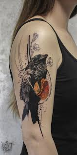 Koit Tattoo Artist From Berlin Black And Orange Graphic Style Crow