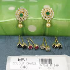 cz stones earrings with cz ruby emerald blue sapphire honey colour changeable