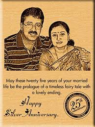 incredible gifts india 25th silver wedding anniversary gift photo on wood 9x7 inch