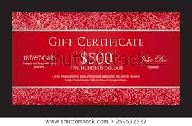 Luxury Red Gift Certificate Borders Composed Stock Vector