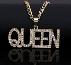 Gold finish 3 key set iced out pendant bead chain set. Iced Out Gold White Gold Queen Pendant With 24 Rope Etsy