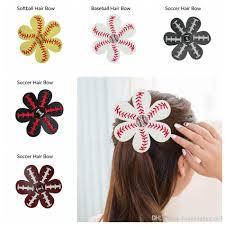 softball flower leather hair clips leather seamed softball hair bows with rhinestone hairs clip pin baseball hair on barrette ljjo4483 black girl hair