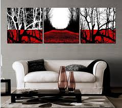 handmade 3 piece black white red abstract landscape wall art oil painting on canvas tree pictures for home decor unique gift in painting calligraphy from  on wall art black white and red with handmade 3 piece black white red abstract landscape wall art oil