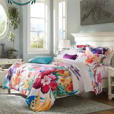 girls carmine red yellow teal and beige tropical colorful hibiscus fl hawaiian style rustic chic luxury damask full queen size bedding sets