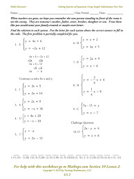 ideas of systems of equations worksheets for