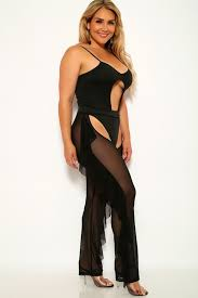Chaps Swimwear Size Chart Black Mesh Bodysuit Pants Chaps Coverup Monokini Plus Size Two Piece Outfit