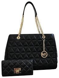 Michael Kors Susannah Large Tote Quilted Handbag&wallet Set Black ... & Michael Kors Susannah Large Tote Quilted Handbag&wallet Set Black Leather  Shoulder Bag Adamdwight.com