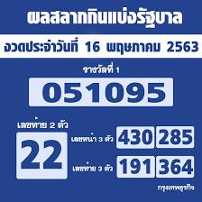 ผลสลากกินแบ่งรัฐบาล ตรวจหวย งวด 16 พฤษภาคม 2563