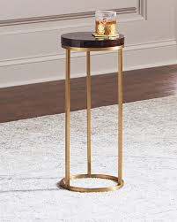 letitia round brass side table brown gold