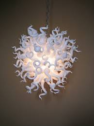 simple and pure milky white hand blown art glass chandelier home decoration s