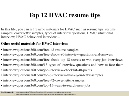 Gallery Of Top 12 Hvac Resume Tips Hvac Technician Resume Examples