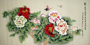 chinese national beauty tree peony painting
