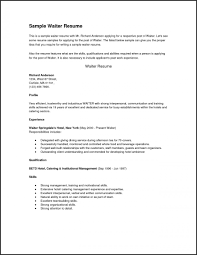 Resume Templates. Bartender Resume Templates: Waiter Resume Best ...