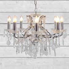 antique french style 8 branch chrome shallow chandelier