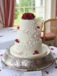 Deep Red Roses And Cascade Of Butterflies French Wedding Cakes