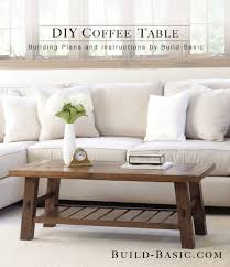 A Wooden Coffee Table In A Living Room.