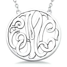 3 initial monogram necklaces custom circle pendant necklace in sterling silver 14k gold