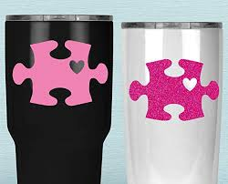 Autism Puzzle Piece Tumbler Decal Awareness Heart Sticker For Yeti Cup Your Choice Of Size And Color