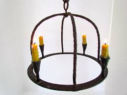 image of candle chandelier non electric antique