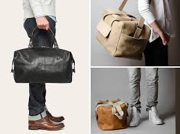 these modern leather and canvas duffel bags are perfect for a weekend get away