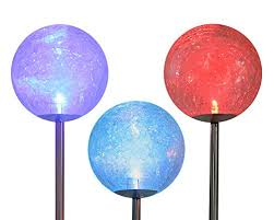 ed glass solar stake lamp scopow 3 pack color changing solar led glass ball light fixture decorative globe garden lawn ornaments path walkway mosaic