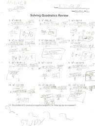 solving quadratic equations worksheet answers worksheets for all and share free on