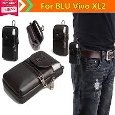 men genuine leather belt loop phone pouch holster retro cell phone case waist bag for blu