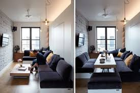 a studio apartment transformed from a work space to a dining space