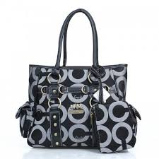 Coach Stud In Signature Medium Black Totes DZE