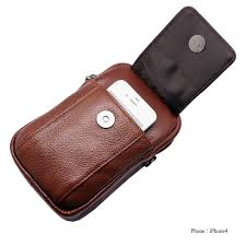 mini messenger bag tan brown leather cellphone wallet case carabiner