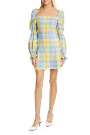 Staud Heather Check Long Sleeve Minidress Nordstrom Rack