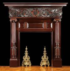 antique italian renaissance carved wood fireplace mantel