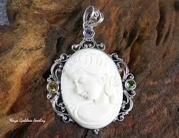 multi gems victorian lady cameo pendant in 925 silver bp 227 jpg