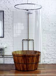 Bathroom : Chic Asian Bathroom Ideas With Drum Shape Brown Textured Wood  Bathtub And White Painted Brick Wall Also White Plain Fabric Curtain Which  Need to ...