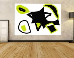 >large abstract painting modern painting black white large abstract painting black white lime green canvas painting modern painting giant painting huge lime green wall art minimalist home decor
