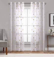Sheer Curtain Cute Twinkle Gold Star ...