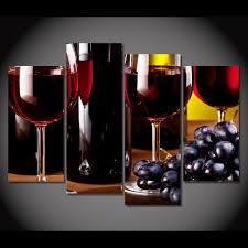 Living Room Wine Bar Print Canvas Painting Wine Glasses Drink Bottle Alcohol Wall Art