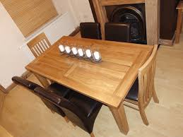 extending solid oak rustic dining table with 6 chairs used