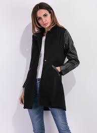 turn down collar long sleeve pu leather splicing wool coat