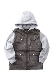 image of urban republic faux leather moto jacket with fleece hood sleeves toddler boys