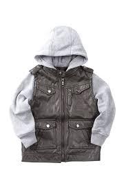 image of urban republic faux leather moto jacket with fleece hood sleeves toddler boys