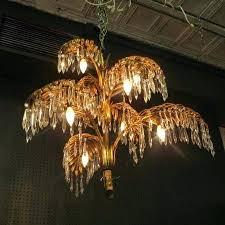 palm leaf chandelier sold vintage antique gold gilded metal and crystal palm leaf chandelier circa glamorous