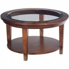 Round Wood Coffee And Cocktail Table With Glass Top